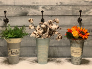 Herbs - Hand Painted Vintage Artisan Planter - galvanized metal - view of 3 different container-all available online-sold separately