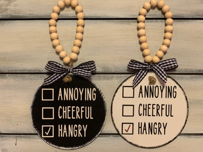 Annoying Cheerful Hangry 4x4 Wood Ornament