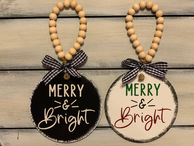 Merry & Bright 4x4 Wood Ornament