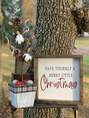 Have Yourself A Merry Little Christmas is paired with our galvanized Christmas tree.  Each item sold separately.