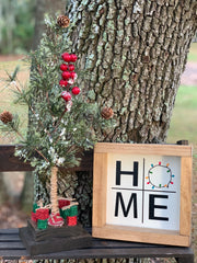 The home 7x7 sign is paired with our miniature pine tree.  Each item sold separately.