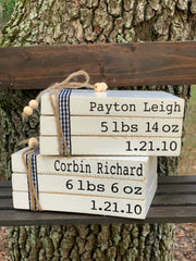 This book set shows a customized baby names, with birth information (weight and birthday).  Makes the perfect gift for new moms as a keepsake.