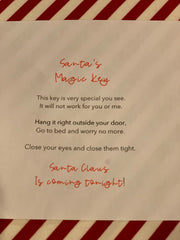 This is an image of the note inside Santa's glass container.  It explains what you need to do with the key.