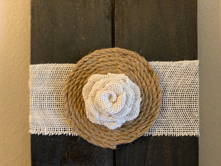 This picture shows a close up of the burlap wrap with twine and burlap bow embellishment.