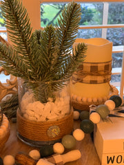 Glitter Pine Branch Glass Vase is shown sitting on a tiered tray with other Root 937 decor.  All items shown are sold separately.