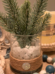 Glitter Pine Branch Glass Vase shows an alternative image sitting on the tiered tray.