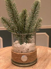 This image shows the glitter pine branch vase by itself.