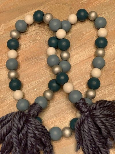 Wooden Bead Garland (Antebellum Blue, Dusty Blue, White & Metallic Silver)