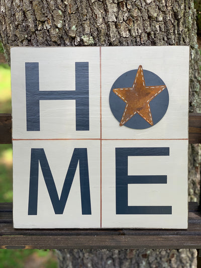 Primitive Home Sign (With Metal Star) shows an image of the sign sitting on a ladder outside.