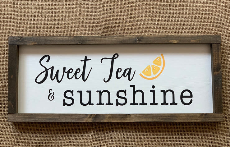 Sweet Tea & Sunshine shows an image of the sign sitting on a table.