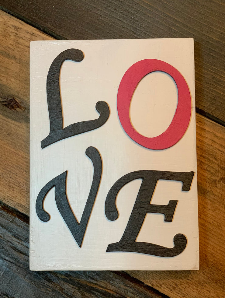 "Love 3D Block Sign is shown with the pink ""o""."
