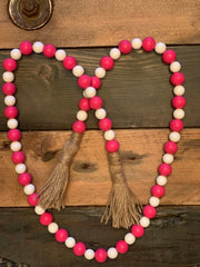 "This image shows the 45"" pink and white bead garland."