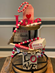 This image show the heart garland on a mini tiered tray.  Each item sold separately.