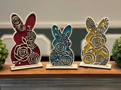 These 3D bunnies can be purchased individually or as a set.  If purchasing as a set, please visit the (set) listing.  Choose from large, medium or small.  Choose from Plum, Ocean Blue, Yellow, Green or Pink.