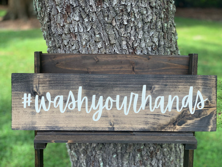 Wash Your Hands Bathroom Sign is a hashtag sign to hang in your bathroom.  Pairs with our set of four (relax, soak, brush and flush) signs that are sold separately.