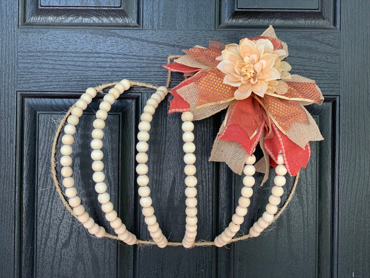 Wooden Bead and Twine Pumpkin Wreath is part of the Root 937 Giveaway for the artisan market in Plant City, FL November 1 & 2, 2019.  Not available for purchase.