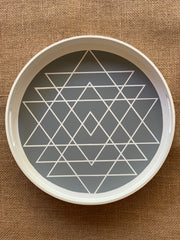 Round Boho White and Gray Tray shows an image of the pattern design.