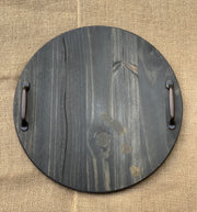 Round Wood Tray with Metal Handles shows an image of a plain tray stained with ebony stain.