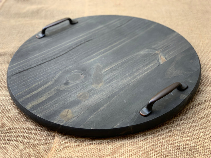 Customizable Round Sign is shown in the ebony stain with handles attached.  Handles would be an added extra embellishment to the order and will only add upon request.