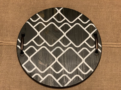 Round Wood Tray with Metal Handles shows an image of the boho style tray pattern.