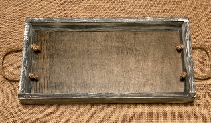 Farmhouse Wooden Tray with Nautical Rope Handles shows an image of the white distressed tray.