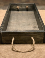 Farmhouse Wooden Tray with Nautical Rope Handles shows an alternate image of the dark distressed stain tray.