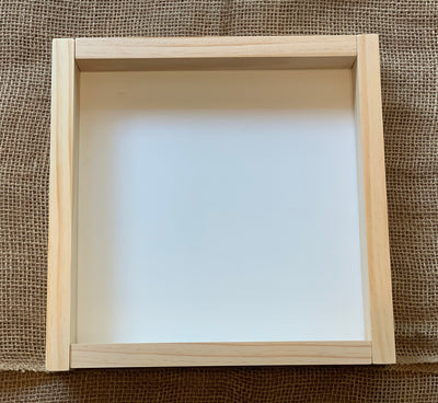 "12"" x 12"" Customer Handwritten Frame shows an image of the frame in natural stain."