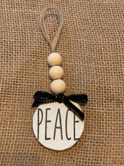 Peace Wooden Beaded Ornament shows an image of the white ornament.