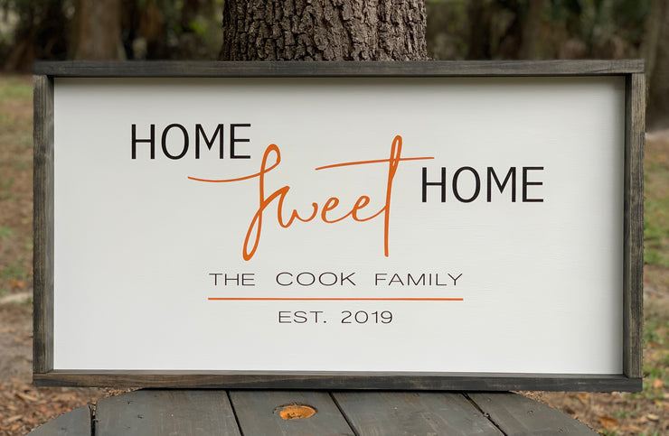 Home Sweet Home (Customized Family Name)Sign shows an image of the sign with a white background and customizable color scheme.