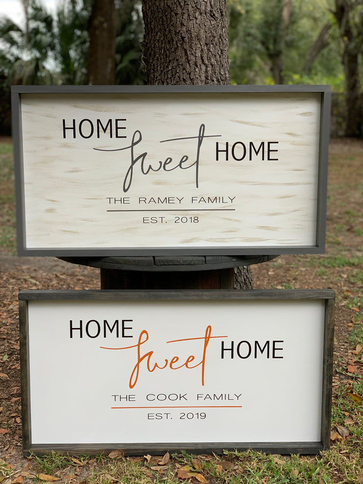 Home Sweet Home (Customized Family Name)Sign shows an image of the two versions sitting outside displayed.