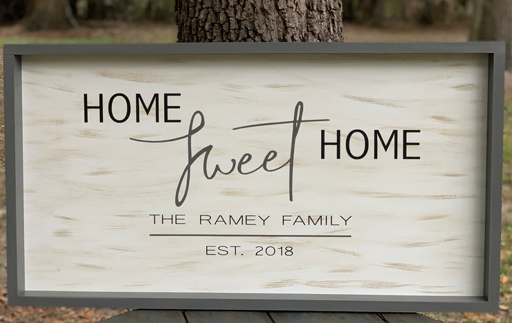 Home Sweet Home (Customized Family Name)Sign shows an image of the distressed sign.