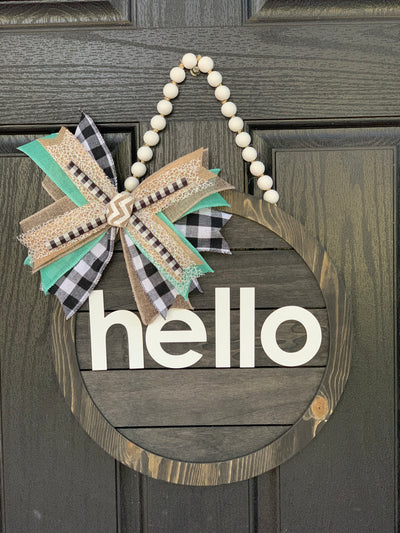 Hello Wood Door Sign