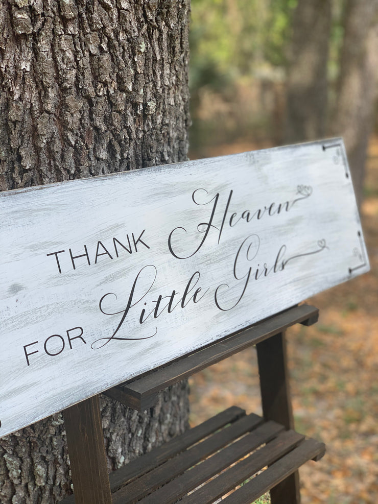 Thank Heaven For Little Girls (Distressed Wood Sign) shows an alternate image of the board.