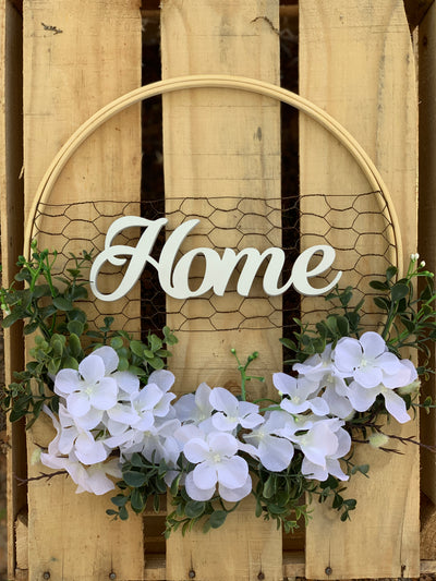 Chicken Wire Embroidery Hoop Wreath shows the wooden home script.