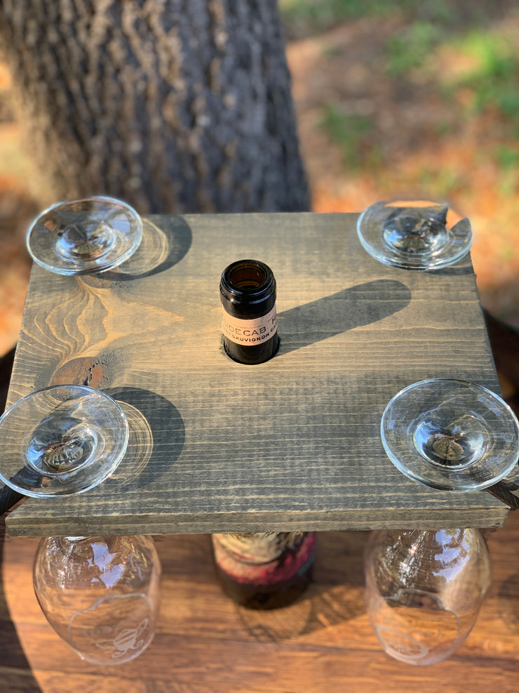 Wood Wine Glass Holder shows an alternative view of the top of the wood holder and wine glasses