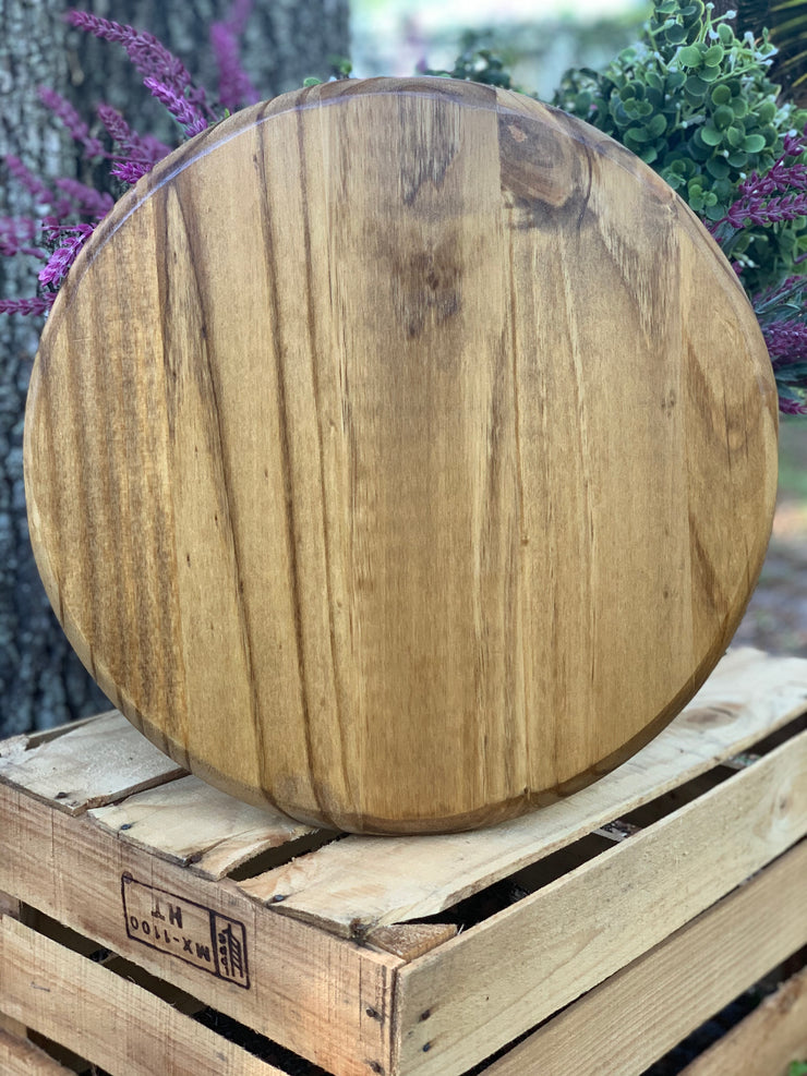 Customizable Round Sign is shown in a natural wood stain.