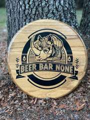 Customizable Round Sign shown an alternative image of the custom logo designed and applied to this round sign.  All signs are hand painted and sealed for protection.