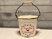 Vintage farmhouse country living metal pail alternate view