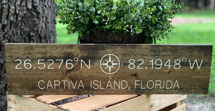 The is the Jacobean stained GPS coordinates sign.  It has lvory  hand painted writing.  All sales are final for GPS signs.