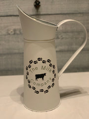 Vintage White Milk Pitcher displaying The Milk Company on the side