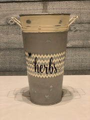 Herbs - Hand Painted Vintage Artisan Planter - galvanized metal -alternate front view