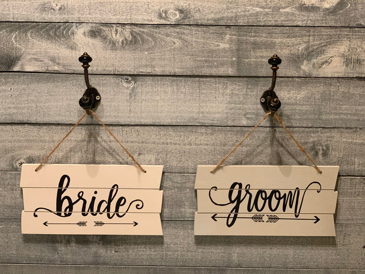 Shiplap style wood groom sign with bride sign-sold separately