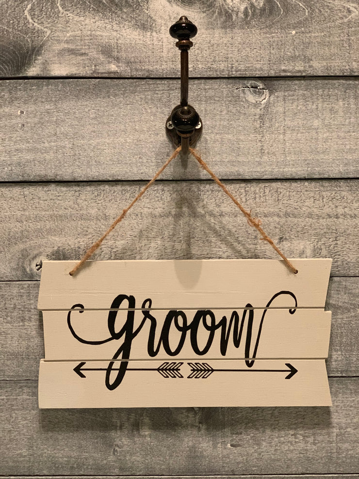 Shiplap style wood groom sign