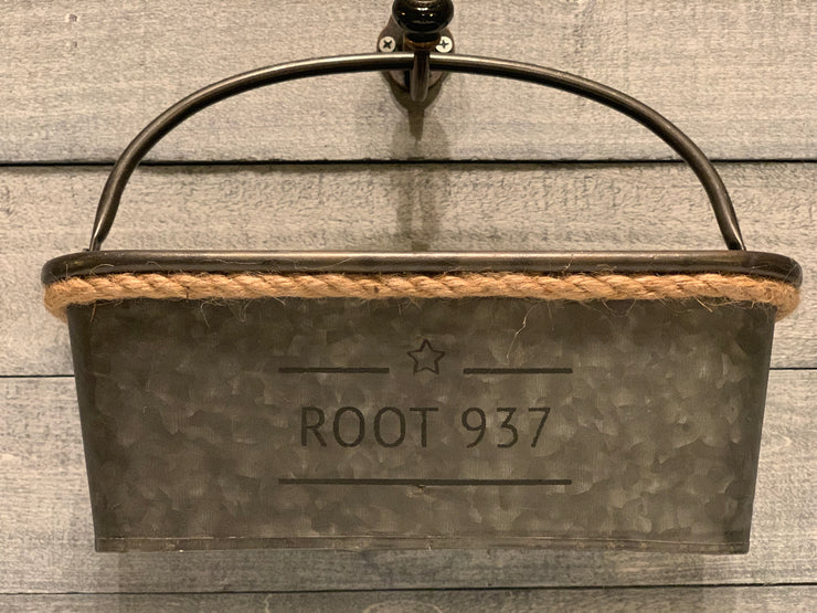 Root 937 Galvanized metal Divided Basket with rope at top view of item hanging