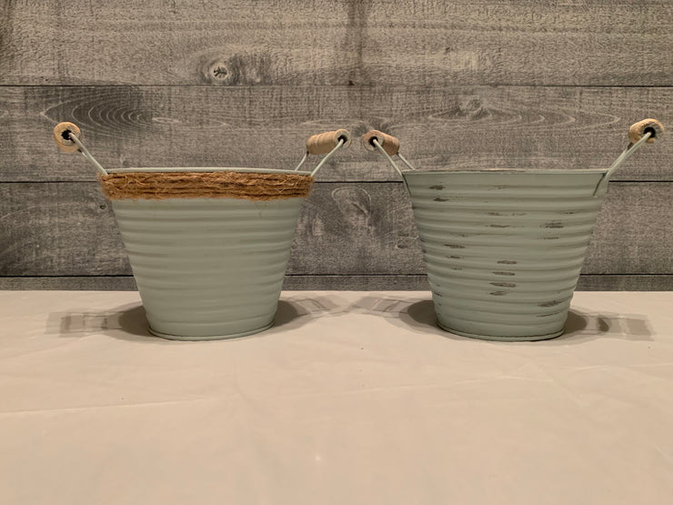 Vintage farm galvanized metal pail with wood handles shown with rope option