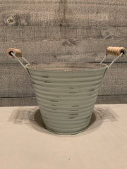 Vintage farm galvanized metal pail with wood handles, stressed sea foam green