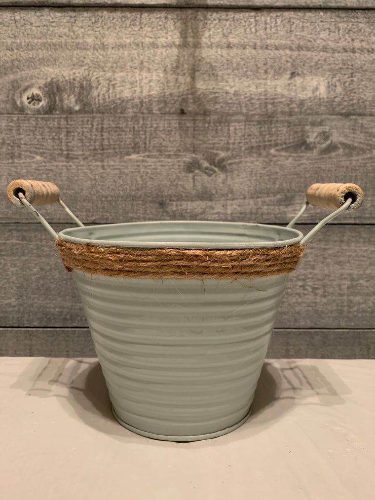 Vintage farm galvanized metal pail with wood handles, stressed sea foam green with rope at top