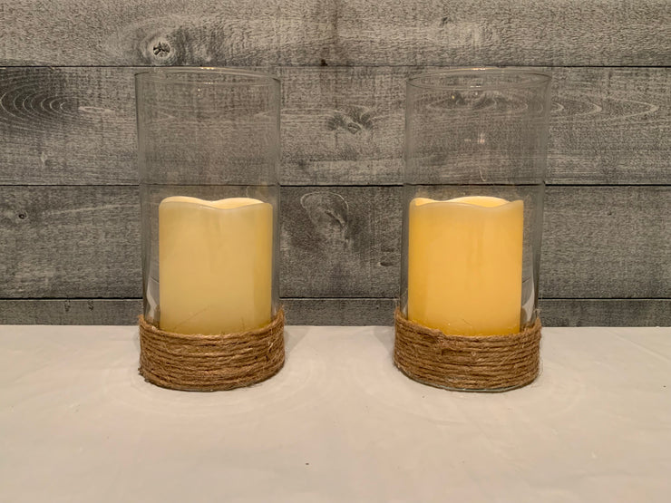 Glass Candle Holder With Nautical Rope - 2 candle holders shown