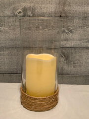 Glass Candle Holder With Nautical Rope