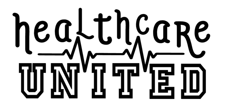 Healthcare United shows an image of a the vinyl car decal in black.  This decal will be made with white vinyl only and instructions will be given on how to apply.